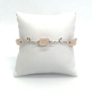 "Tiffany & Co. 5 Station Rose Quartz Bracelet 7"""
